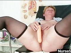 Bbw in black stockings spreads her legs in stirrups tubes