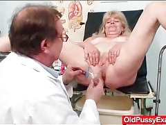 Doctor gives his patient a pussy enema tubes