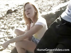 Beautiful blonde sucks cock on the beach tubes