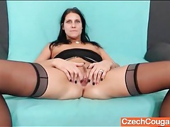 Slutty party dress on a brunette milf tubes