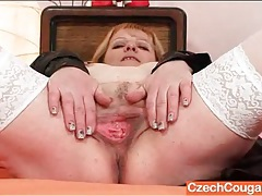 Fat ass old lady in sexy white stockings tubes