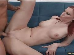 Leggy redhead beauty with perky tits fucked tubes