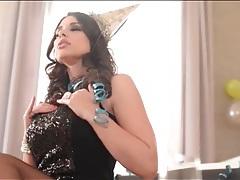 Glamorous stunner zafira strips to hot lingerie tubes