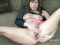 Trashy slut with her legs spread masturbates tubes