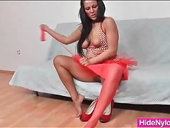 Red pantyhose in her cunt go on her legs tubes