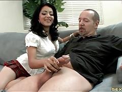 Latina in sexy schoolgirl skirt sucks huge dick tubes