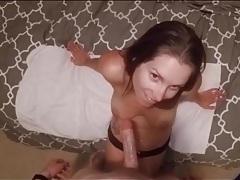 Girl in black panties goes down on his dick tubes