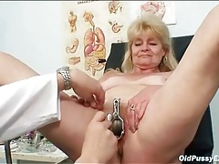 Pussy enema and speculum play in medical exam tubes