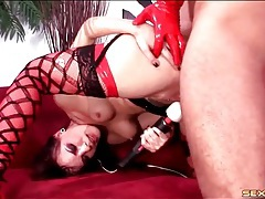 Rough anal with hot choking of his slut tubes