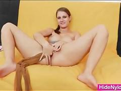 Perfect big natural tits girl puts on pantyhose tubes