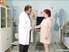 Fat redhead granny gets a pussy exam tubes