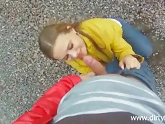 Teen with her tits out sucks dick outdoors tubes
