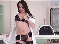 Asian nurse models her gorgeous lingerie tubes