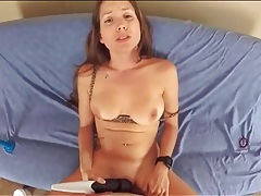 Lelu love cums hard with cock in her pussy tubes
