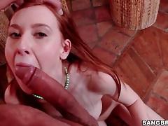 Amazing redhead slowly sucks on a big dick tubes
