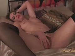 Milf in stockings masturbates alone in bed tubes