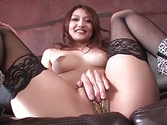 Boots and fishnets on a japanese beauty tubes