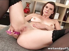 Anal beads turn on a chick in black stockings tubes