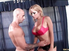 Fake titty hottie swallows his dick with skill tubes