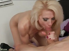 Old blonde babe has a young dick to suck on tubes