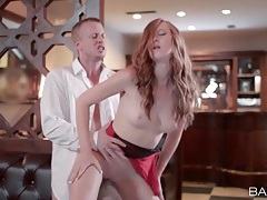 Redhead banged passionately at a restaurant tubes
