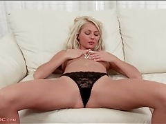 Leggy coed opens her legs and shows off her cunt tubes