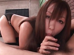 Animal print lingerie on a cocksucking asian girl tubes