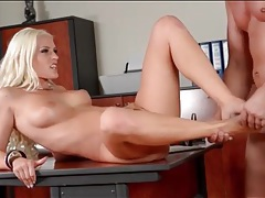 Anal blonde takes a big cumshot on her feet tubes