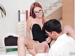 Office hottie makes him lick her pussy with lust tubes