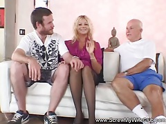 Cuck shares his wife and watches her fuck tubes