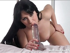 Lusty dildo blowjob makes it wet for her cunt tubes
