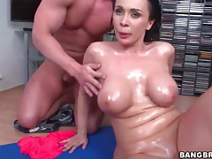 Dick slides between those big oiled up titties tubes