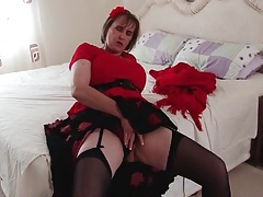 Big tits granny in stockings and a sexy skirt tubes