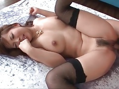 Juicy japanese pussy filled with his cumshot tubes