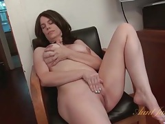 Milf fondles her big tits and masturbates her cunt tubes