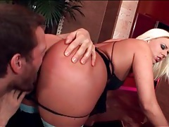 Blonde munched from behind and pounded tubes