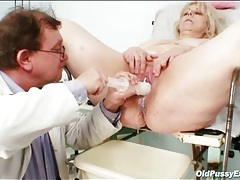 Chubby blonde babe gets a medical exam tubes
