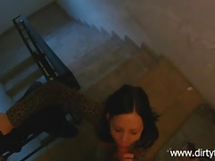 Public sex in the stairwell with a chick in leopard print tubes