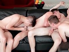 Four tight guys sensually suck on hard dick tubes