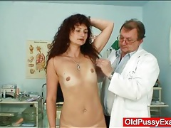 Skinny milf visits her doctor for a pussy exam tubes