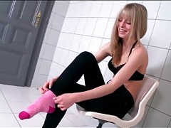 Skinny bianka brill shows off her pretty feet tubes