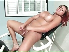 Shemale cock cums from sexy solo stroking tubes