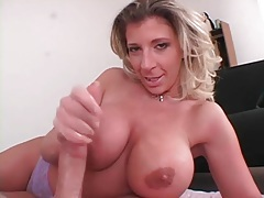 Slick and slippery handjob from a busty chick tubes