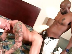 Burly black bellhop sucks cock and licks white ass tubes