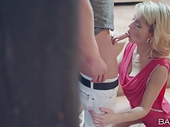 Beauty in a hot pink dress sucks his dick lustily tubes