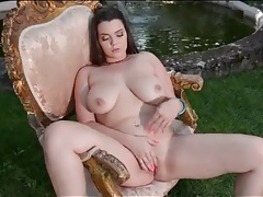 Curvy nude girl masturbates erotically outdoors tubes