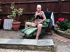 Granny models her hot lingerie set outdoors tubes