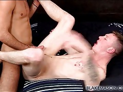 Stiff dick is balls deep in the hot gay bottom tubes