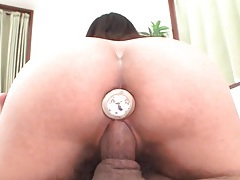 She sucks and fucks with a butt plug in her ass tubes