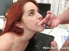 Redhead sucks his cumshot off her keyboard tubes
